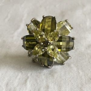 Large Peridot Green Faceted Ring Size 8